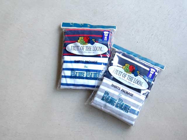 BLUE BLUE/FRUIT OF THE LOOM BLUEBLUE ボーダークルーネックポケットT