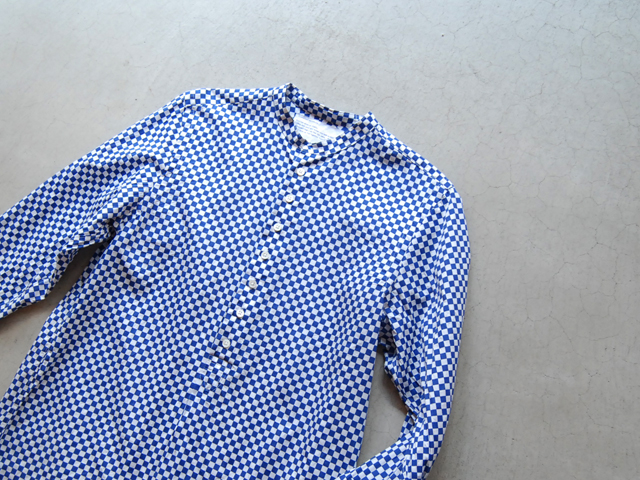 COMMONO reproducts(コモノ リプロダクツ)/CHECK WIDE HENRY NECK SHIRTS (BLUE)