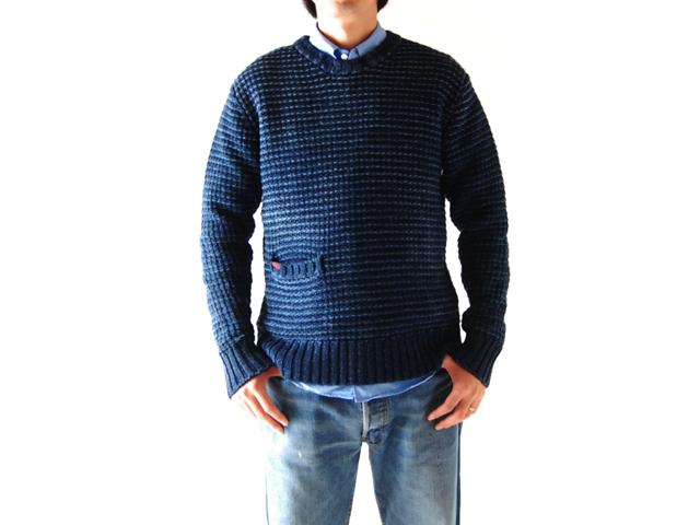 BLUE BLUE(ブルーブルー)/インディゴコットン オールドワッフルセーター