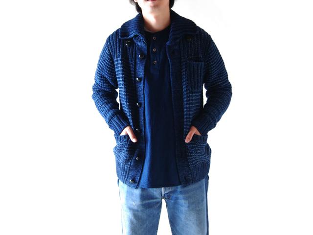BLUE BLUE(ブルーブルー)/インディゴコットン オールドワッフルショールカラージャケット