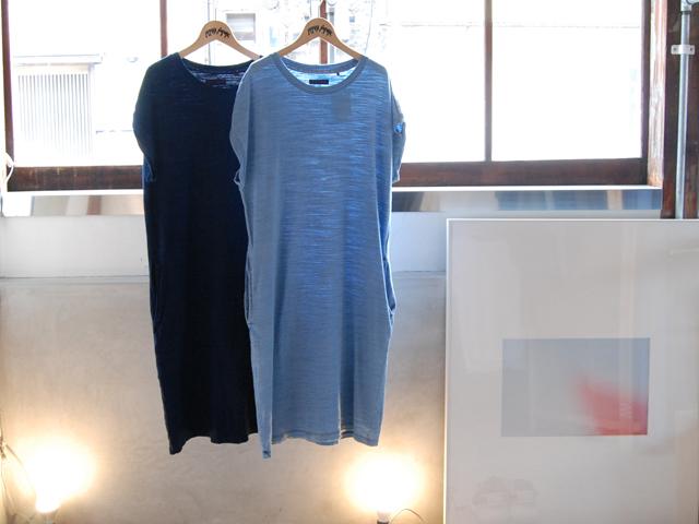 BLUE BLUE(ブルー ブルー)/インディゴスラブガーゼ フレンチスリーブワンピース
