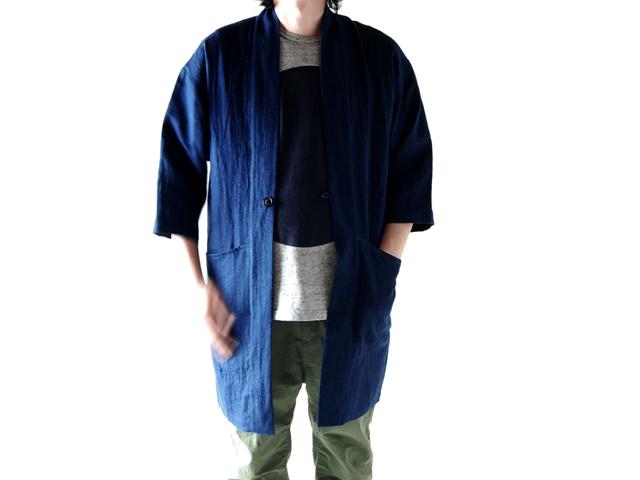 BLUE BLUE JAPAN(ブルーブルージャパン)/インディゴリネンフェイス ハンテンコート