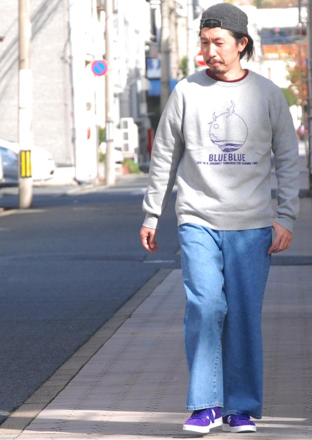 BLUE BLUE/BLUE MOON クルーネックスウェット