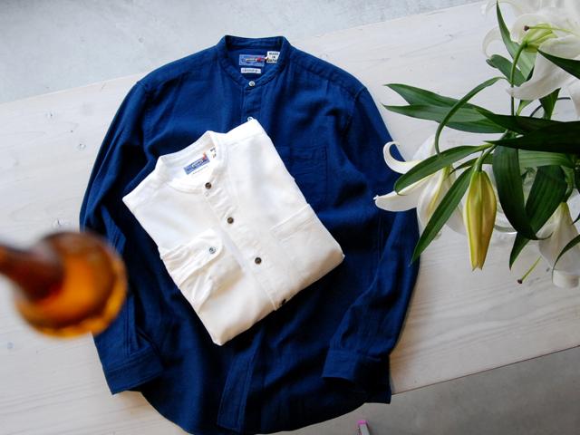 BLUE BLUE JAPAN/ナナメクズシ バンドカラーシャツ