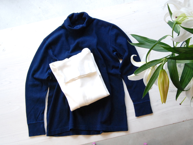 BLUE BLUE JAPAN/ムライトテレコテゾメニードルステッチタートルTシャツ