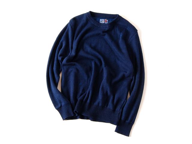 BLUE BLUE JAPAN/インディゴコットン ダブルフェイスダメージセーター