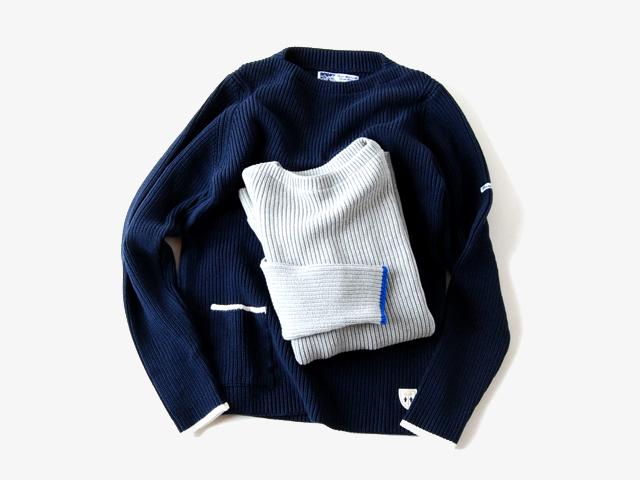 BLUE BLUE/Fileuse dArvor・BLUE BLUE コットンクルーネックセーター